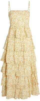 Peony Swimwear Floral Tiered Midi Dress