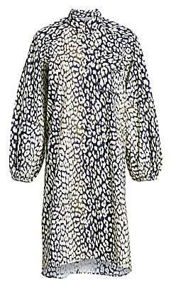 Ganni Women's Leopard-Print Cotton Poplin Shirtdress