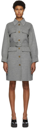 Fendi Grey Double Wool Trench Coat