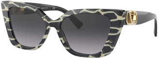 Valentino Cat-Eye Acetate Sunglasses w/ Golden V Temples