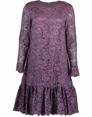 Adam Lippes Corded Lace Amethyst Long Sleeve Ruffle Hem Dress