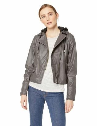 Yoki Women's Sherpa Lined Faux Leather Moto Jacket Outerwear