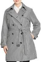 Lauren Ralph Lauren Plus Gingham Double-Breasted Trench Coat