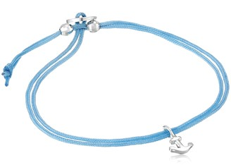 "Alex Woo Mini Cord Bracelet"" Blue with Sterling Silver Mini Anchor Bracelet"
