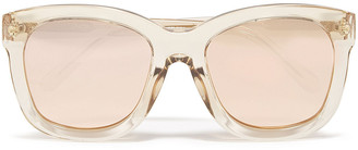 Linda Farrow Oversized D-frame Acetate Mirrored Sunglasses