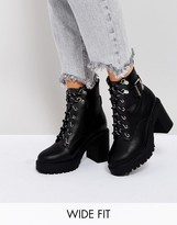 Asos Edge Wide Fit Chunky Heeled Ankle Boots
