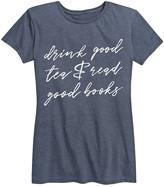 Instant Message Women's Women's Tee Shirts HEATHER - Heather Blue 'Drink Good Tea Read Good Books' Relaxed-Fit Tee - Women