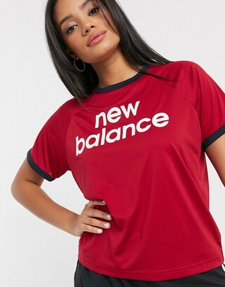 New Balance Running classic logo cropped t-shirt in red