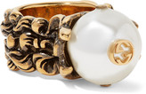 Gucci Burnished Gold-tone Faux Pearl Ring - 15