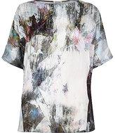 River Island Womens Grey abstract print silky split back top