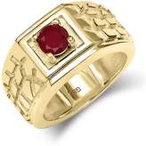 Gem Stone King 0.56 Ct SI1/SI2 Ruby 18K Yellow Gold Plated Silver Men's Solitaire Ring