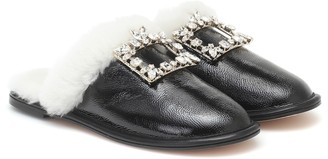 Roger Vivier Hotel Vivier shearling-trimmed leather slippers