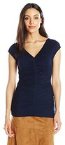 Adrianna Papell Women's V-Neck Ruched Top