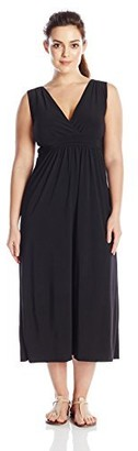 Star Vixen Women's Plus-Size Sleeveless Surplice Maxi with Narrower Waist Band