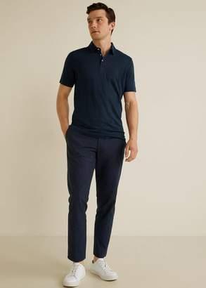 MANGO 100% linen polo shirt