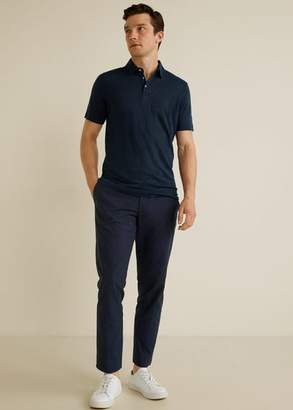 MANGO MAN - 100% linen polo shirt dark navy - S - Men
