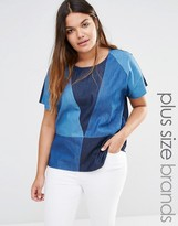 Junarose Patched Denim Woven Top