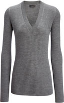 Joseph Wool Silk Cash Rib V Neck Sweater