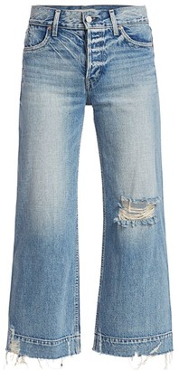 TRAVE Audrey Mid-Rise Distressed Wide-Leg Cropped Jeans