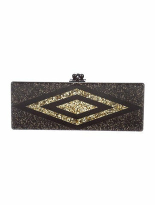 Edie Parker Long Glitter Box Clutch Black