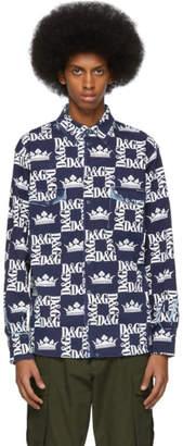 Dolce & Gabbana Navy and White Stretch Denim Logo Shirt