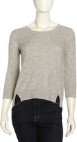 Oats Cashmere Cashmere Hi-Low Sweater, Gray