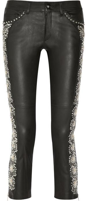 Isabel Marant Dobra embellished cropped leather skinny pants