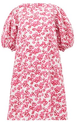 Merlette New York Aster Floral-print Pleated Cotton-poplin Dress - Pink Print