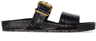 Prada double strap croc-effect sandals