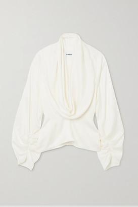 LADO BOKUCHAVA Draped Satin Blouse - White