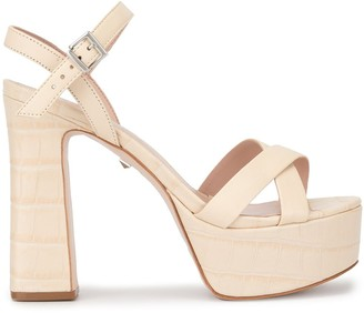Schutz Croc-Effect Platform Sandals