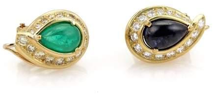 David Webb 18K Yellow Gold with 3.00ct Emerald, Sapphire & 0.90ct Diamond Earrings