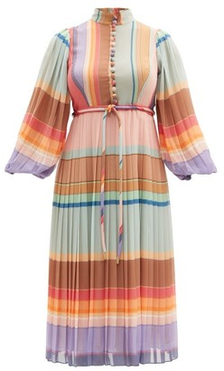 Zimmermann Rainbow Striped Crepe De Chine Midi Dress - Multi