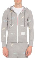 Thom Browne Shark Zip-Front Hoodie, Light Gray
