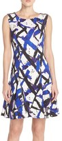 Betsey Johnson Women's Print Scuba Fit & Flare Dress