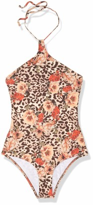 GUESS Women's Flower Animal One Piece Swimsuit in The Mood Animalier XS