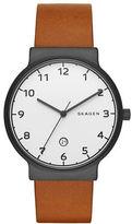 Skagen Sandblast Dial Stainless Steel Leather Strap Watch