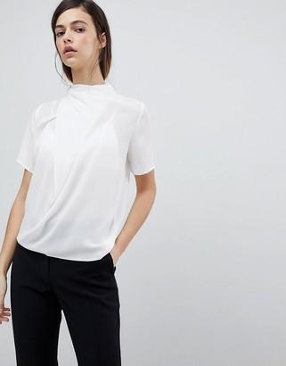 Asos Design DESIGN high neck tee with drape detail-White