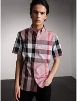 Burberry Button-down Collar Short-sleeve Check Cotton Shirt , Size: Xl, Purple