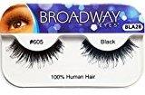Broadway Eyes False Strip Eyelashes 100% Human Hair Black #605, BLA28 (3 Pack)