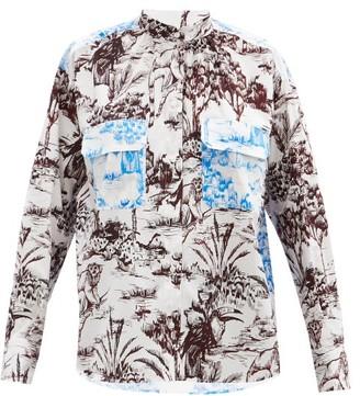 MSGM Bi-colour Jungle-print Cotton-poplin Shirt - Multi
