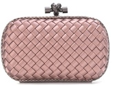 Bottega Veneta Knot satin and snakeskin clutch