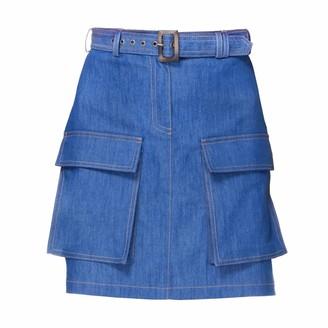 Diana Arno Kirsten Denim Skirt With Pockets