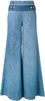 Pierre Balmain buttoned waist palazzo pants - women - Cotton/Spandex/Elastane - 26
