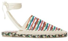 Missoni Lace-up Leather-trimmed Printed Canvas Espadrilles