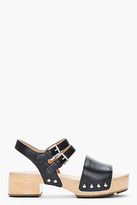 Marc by Marc Jacobs Black Leather Heavy Wooden Sandal Clogs