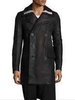 Rick Owens Tube Leather Double Breasted Top Coat