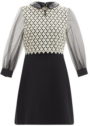 Gucci Pvc-collar Silk-sleeve Crochet Crepe Mini Dress - Black