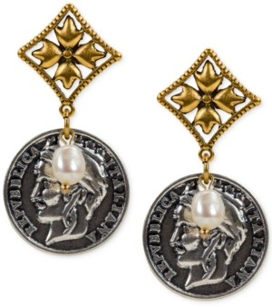 Patricia Nash Two-Tone Imitation Pearl World Coin Drop Earrings