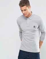United Colors Of Benetton Long Sleeve Pique Polo Shirt In Muscle Fit